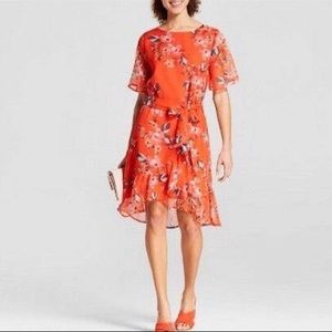 A New Day Orange Floral Ruffle Dress Size Small